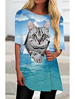 cheap -Women's T Shirt Dress Tee Dress Short Mini Dress Blue Half Sleeve Cat Animal Print Spring Summer Round Neck Casual 2021 S M L XL XXL 3XL