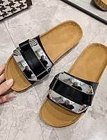 cheap -Women's Sandals Flat Heel Round Toe Rubber PU White Black Red