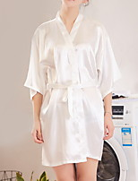 cheap -Women's Lace up Robes Nightwear Solid Colored White / Black / Purple M L XL