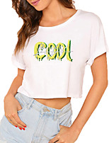 cheap -Women's Crop Tshirt Letter Print Round Neck Tops 100% Cotton Basic Basic Top White Black
