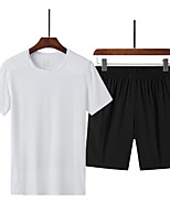 cheap -Men's T shirt Hiking Tee shirt with Shorts Short Sleeve Pants / Trousers Bottoms Clothing Suit Outdoor Quick Dry Lightweight Breathable Sweat wicking Spring Summer Color blue Black / grey Black