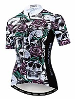 cheap -cycling jersey women short sleeve road bike shirt top ladies cycle wear jacket mtb pro bicycle clothing white skull size xl