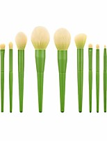 cheap -11pcs makeup brush, premium synthetic cosmetic brushes wood handle minimalist makeup brushes for foundation powder concealers eyeshadows blending (green)