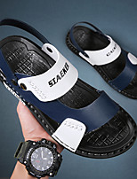 cheap -Men's Sandals Casual Beach Daily Walking Shoes PU Breathable Non-slipping Wear Proof Black and White White / Blue White / Yellow Summer