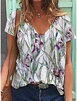cheap -Women's T shirt Floral Plants V Neck Tops Basic Basic Top White