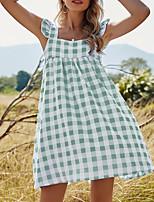 cheap -Women's A Line Dress Short Mini Dress Blue Green Sleeveless Check Ruffle Patchwork Fall Summer Square Neck Elegant Casual 2021 S M L XL