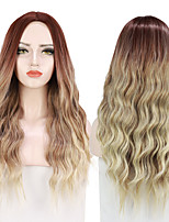 cheap -Ombre Light Ash Brown Blonde Wavy Wig Cosplay Party Daily Synthetic Wig for Women Hear Resistant Fibre Free Cap