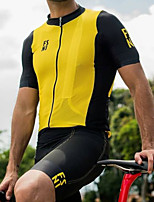 cheap -Women's Men's Short Sleeve Triathlon Tri Suit Summer Black / Yellow Bike Quick Dry Breathable Sports Mountain Bike MTB Road Bike Cycling Clothing Apparel / Stretchy / Athletic