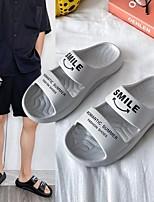 cheap -Women's Sandals Flat Heel Round Toe PU Slogan White Black Gray
