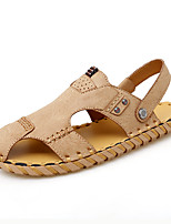 cheap -Men's Sandals Crochet Leather Shoes Flat Sandals Sporty Casual Daily Outdoor Water Shoes Walking Shoes Nappa Leather Cowhide Breathable Handmade Non-slipping Booties / Ankle Boots Black Khaki Brown
