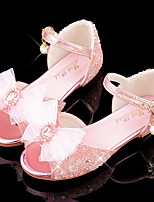 cheap -Girls' Sandals Flower Girl Shoes Princess Shoes School Shoes Rubber PU Little Kids(4-7ys) Big Kids(7years +) Daily Party & Evening Walking Shoes Rhinestone Bowknot Sparkling Glitter Blue Pink Silver