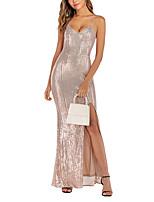 cheap -Women's Strap Dress Maxi long Dress Golden Black Silver Sleeveless Solid Color Fall Winter Elegant & Luxurious 2021 S M L XL