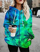 cheap -Women's Jackets 3D Print Print Casual Fall Jacket Regular Daily Long Sleeve Air Layer Fabric Coat Tops Blue