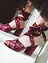 cheap -Women's Sandals Chunky Heel Peep Toe PU Synthetics Black Red Blue