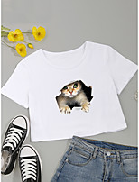 cheap -Women's Crop Tshirt Cat 3D Print Round Neck Tops Cotton Basic Basic Top White Black