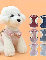 cheap -Dog Cat Pets Harness Leash Cute and Cuddly Vest Adorable Hiking Walking Polka Dot Plaid / Check Stripes Nylon Cotton Bichon Frise Schnauzer Poodle Chihuahua Pomeranian Small Dog Black Red Light Red