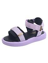 cheap -Girls' Sandals Comfort Children's Day School Shoes PU Heelys Shoes Big Kids(7years +) Training Daily Walking Shoes Buckle Purple Beige Spring Summer