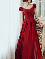 cheap -A-Line Elegant Vintage Wedding Guest Formal Evening Dress V Neck Short Sleeve Floor Length Satin with Sleek 2021