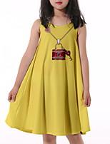cheap -Kids Little Girls' Dress Graphic Print Yellow Knee-length Sleeveless Flower Active Dresses Summer Regular Fit 5-12 Years