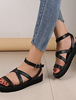 cheap -Women's Sandals Platform Round Toe PU Solid Colored White Black Yellow
