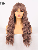 cheap -Cosplay Costume Wig Synthetic Wig Wavy Loose Curl Middle Part Wig 24 inch Pink / Grey Synthetic Hair Women's Odor Free Fashionable Design Soft Gray