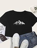 cheap -Women's Crop Tshirt Scenery Letter Print Round Neck Tops Cotton Basic Basic Top White Black