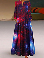 cheap -Women's Swing Dress Maxi long Dress Black Blue Red Long Sleeve Print Print Spring Summer V Neck Casual 2021 S M L XL XXL 3XL 4XL 5XL