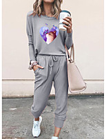 cheap -Women Basic Streetwear Cat Heart Vacation Casual / Daily Two Piece Set Tracksuit T shirt Pant Loungewear Drawstring Print Tops