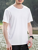 cheap -Men's T shirt Hiking Tee shirt Short Sleeve Crew Neck Tee Tshirt Top Outdoor Quick Dry Lightweight Breathable Soft Autumn / Fall Spring Summer Chinlon Elastane Solid Color White Black Blue Hunting