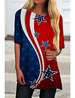 cheap -Women's T Shirt Dress Tee Dress Short Mini Dress Red Half Sleeve Print Flag Print Spring Summer Round Neck Casual 2021 S M L XL XXL 3XL