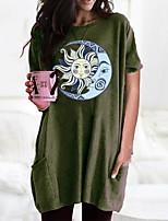 preiswerte -Damen T-Shirt Kleid Grafik Rundhalsausschnitt Oberteile Grundlegend Basic Top Schwarz Wein Armeegrün
