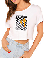 cheap -Women's Crop Tshirt Graphic Text Print Round Neck Tops 100% Cotton Basic Basic Top White Black