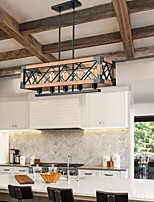 cheap -LED Pendant Light Island Light Wood Made Long Strip Wooden Metal Retro Chandelier Rectangular Industrial Kitchen Island Light Rural Farmhouse Chandelier 1-Light 4-Light 5-Light E27 AC220V E26 AC110V