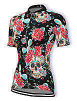 cheap -21Grams Women's Short Sleeve Cycling Jersey Summer Spandex Polyester Black Sugar Skull Skull Floral Botanical Bike Jersey Top Mountain Bike MTB Road Bike Cycling Quick Dry Moisture Wicking Breathable