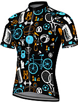 cheap -21Grams Men's Short Sleeve Cycling Jersey Summer Spandex Black Bike Top Mountain Bike MTB Road Bike Cycling Quick Dry Breathable Sports Clothing Apparel / Athleisure