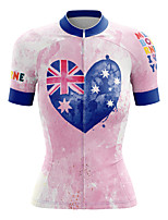 cheap -21Grams Women's Short Sleeve Cycling Jersey Summer Spandex Polyester Pink Heart National Flag Bike Jersey Top Mountain Bike MTB Road Bike Cycling Quick Dry Moisture Wicking Breathable Sports Clothing