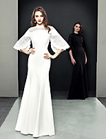 cheap -A-Line Chinese Style Elegant Wedding Guest Formal Evening Dress High Neck Half Sleeve Floor Length Stretch Fabric with Lace Insert 2021