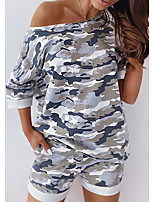 cheap -Women's Home Polyester Pant everyday Scoop Neck Suits Short Sleeve Print Spring & Summer Camo / Camouflage S Light gray
