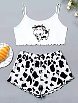 cheap -Women's Home Polyester everyday Scoop Neck Loungewear Sleeveless 2 Piece Spring & Summer Leopard S White / Flag / Lace