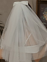 cheap -Two-tier Cute Wedding Veil Elbow Veils with Solid 23.62 in (60cm) Lace / Tulle