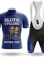 cheap -Men's Short Sleeve Cycling Jersey with Bib Shorts Winter Summer Spandex Dark Blue Bike Quick Dry Breathable Sports Graphic Mountain Bike MTB Road Bike Cycling Clothing Apparel / Stretchy / Athletic