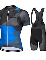 cheap -CAWANFLY Men's Short Sleeve Cycling Jersey with Bib Shorts Cycling Bib Shorts Summer Black / Blue Bike Quick Dry Sports Mountain Bike MTB Road Bike Cycling Clothing Apparel