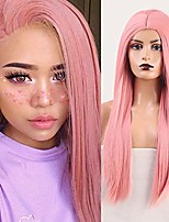 cheap -rdy silky straight wig pink color synthetic wigs for women heat friendly fiber hair replacement wig natural looking full machine made wig for daily party cosplay wig 24 inches