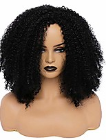 cheap -hiaysan afro short kinky curly wigs for black women synthetic fluffy black side part wig for african american