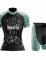 cheap -Women's Short Sleeve Cycling Jersey with Shorts Summer Spandex Black Floral Botanical Bike Quick Dry Breathable Sports Floral Botanical Mountain Bike MTB Road Bike Cycling Clothing Apparel / Stretchy