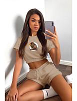 cheap -Women Basic Animal Daily Wear Vacation Two Piece Set Crop Top Loungewear Print Tops