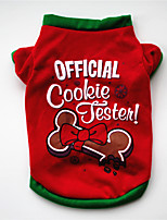 cheap -Dog Cat Shirt / T-Shirt Christmas Costume Christmas Cute Sweet Christmas Casual / Daily Winter Dog Clothes Puppy Clothes Dog Outfits Warm Red / Green Costume for Girl and Boy Dog Cotton XS S M L