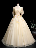 cheap -Ball Gown Elegant Floral Quinceanera Prom Dress V Neck Half Sleeve Floor Length Tulle with Embroidery Appliques 2021