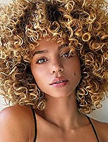 cheap -psalms hair short curly blonde wig for black women natural puffy afro wig with bangs goodly kinky curly wig synthetic heat resistant full wigs(brown mixed blonde)