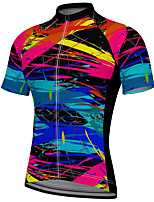cheap -21Grams Men's Short Sleeve Cycling Jersey Summer Spandex Polyester Blue Graffiti Bike Jersey Top Mountain Bike MTB Road Bike Cycling Quick Dry Moisture Wicking Breathable Sports Clothing Apparel